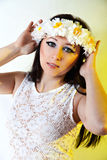 Young woman with paper flower wreath Royalty Free Stock Images