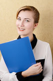 Young woman with papers portrait Royalty Free Stock Photography