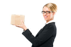 Young woman with a parcel Royalty Free Stock Photography
