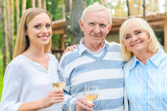 Young woman with parents. Stock Photos