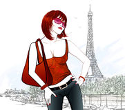 Young woman in Paris near Eiffel tower and Seine river Stock Images