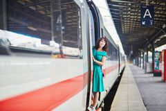 Young woman in Parisian underground or railway station Royalty Free Stock Images