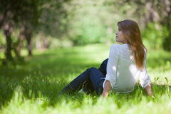 Young woman at park Stock Photos