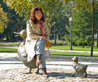 Young woman in park. Young woman in autumn park Stock Photo