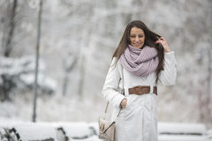 Young woman in the park at winter Stock Image