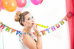 Young woman at a party Royalty Free Stock Images