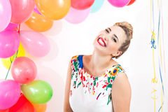 Young woman at a party Stock Images