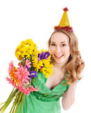 Young woman in party hat. Stock Image