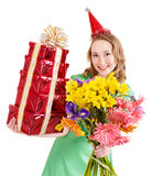 Young woman in party hat. Royalty Free Stock Photos