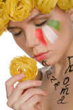 Young woman with pasta and symbols of Italy Royalty Free Stock Photo