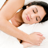 Young woman peaceful sleeping Royalty Free Stock Image