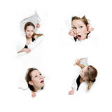 Young woman peeping through hole in paper Stock Photography