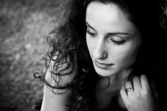 Young woman pensive portrait Royalty Free Stock Image