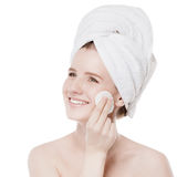 Young woman with perfect health skin of face Stock Photo