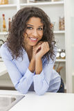 Young Woman Perfect Teeth and Smile in Kitchen Royalty Free Stock Photo