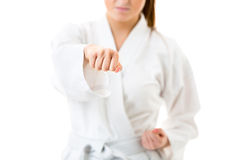 Young, woman performing karate moves Royalty Free Stock Photography