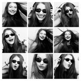 Young woman performing various expressions with her face Stock Photo