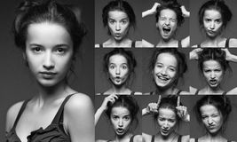 Young woman performing various expressions with her face. Royalty Free Stock Images