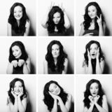 Young woman performing various expressions with her face stock photos