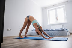 Young woman performs yoga stretching Royalty Free Stock Image