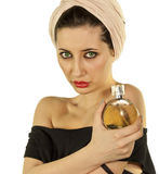 Young woman with perfume. Portrait of young  woman with perfume isolated on white Royalty Free Stock Photos