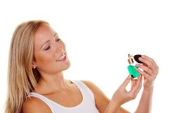 Young woman with perfume bottle Stock Image