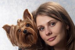 Young woman and pet Stock Photography