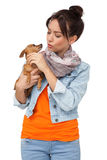 Young woman with pet dog Stock Photos