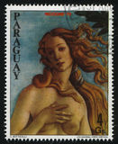 Young Woman From Philatelic Exhibition by Boticelli. RUSSIA KALININGRAD, 19 APRIL 2017: stamp printed by Paraguay, shows Painting of a young Woman From Stock Photos