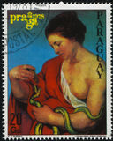 Young Woman From Philatelic Exhibition by Rubens. RUSSIA KALININGRAD, 19 APRIL 2017: stamp printed by Paraguay, shows Painting of a young Woman From Philatelic Royalty Free Stock Images