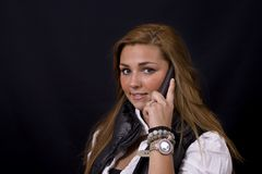 Young woman on the phone Stock Photo