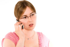 Young woman and phone Stock Photography