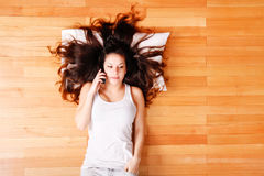 Young woman with phone Stock Photos