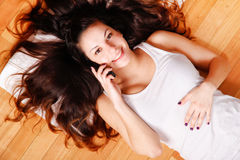 Young woman with phone Royalty Free Stock Image