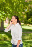 Young woman phoning in the park Stock Photo