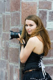 Young woman with photo camera. Royalty Free Stock Photo