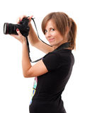 Young woman with photo camera Royalty Free Stock Photo