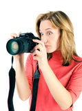 Young woman with photocamera Royalty Free Stock Image