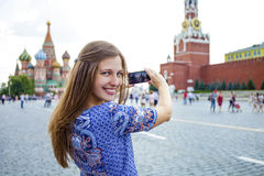 Young woman photographed attractions in Moscow Royalty Free Stock Photography