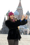 Young woman photographed attractions in Moscow Stock Photo