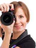 Young woman photographer Stock Images