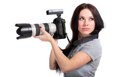 Young woman photographer Royalty Free Stock Photos