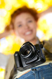 Young woman photographer Royalty Free Stock Photography
