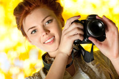 Young woman photographer. Outdoors portrait Royalty Free Stock Photos
