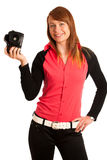 Young woman photographer with camera in her hand Stock Image