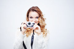 Young  woman photographer with camera, portrait on Royalty Free Stock Photo
