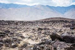 Young woman photographer explores Fossil Falls in California. Photo shows the scale of the area. Young woman photographer explores Fossil Falls in California stock images