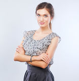 Young woman photographer processing pictures sitting on the desk Royalty Free Stock Photo