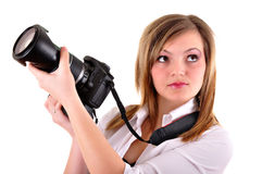 Young woman with photographic camera Royalty Free Stock Images