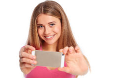 Young woman photographing Stock Photo